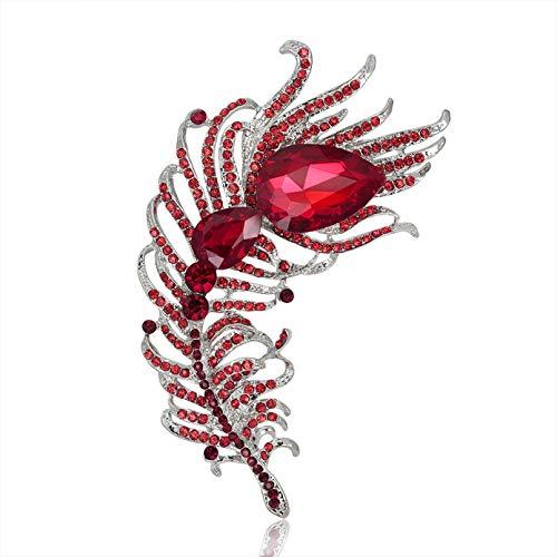 JJLESUN Big Crystal Feather Style Broschen für Frauen Große Statement Pins...