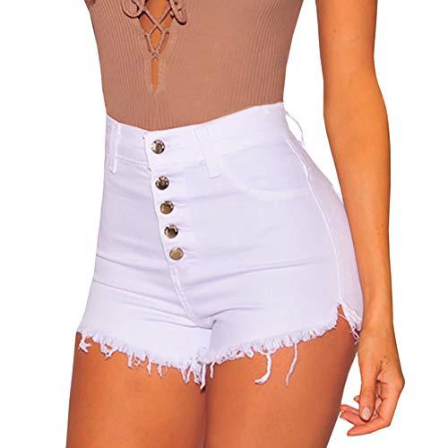 GerFogoo Chouzhongsan - Pantalones cortos para mujer (cintura alta, ajustados, elásticos, pantalones cortos de mezclilla con flecos, cintura alta, cinco botones) Blanco Wt-l Talla única