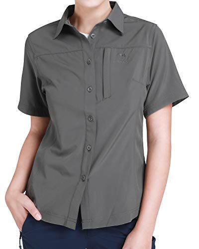 CAMEL CROWN Damen Hemd Einfarbig Bluse Kurzarm mit Knopf Schnelltrocknendes Hemd Casual Blusenshirt Tops Leinenhemd Outdoor Reise Sommer Freizeit T-Shirt