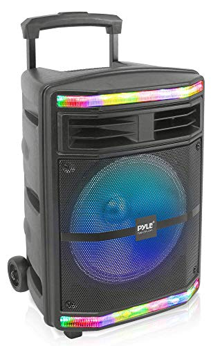 Pyle Portable Bluetooth PA Speaker System - 600W Bluetooth Speaker Portable PA System W/Rechargeable Battery 1/4' Microphone in, Party Lights, MP3/USB SD Card Reader, Rolling Wheels PPHP1044B