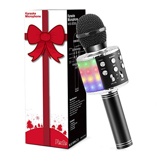 Fede Wireless Bluetooth Karaoke Microphone, Portable Handheld Karaoke Mic Speaker Machine with LED Lights, Christmas Gifts for Kids, Toys for 6 7 8 9 10 year old Girls and Boys(Black)