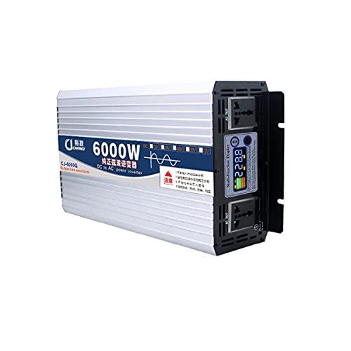 NLJY El último inversor de Potencia Pico de 3000 W / 6000 W, convertidor de Coche de Onda sinusoidal Pura de 12 V a 220 V CA y CC, con Pantalla Digital y 1 Toma de Corriente CA,2600W-48V