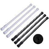 Jsdoin - 6 barras de tensión, barra de suspensión, extensible, longitud de 30 a 50 cm, para proyectos de bricolaje, cocina, baño, armario, ventana, estantería (3 x blanco 3 x negro