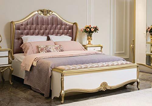 Casa Padrino Cama Doble Barroco de Lujo púrpura/Rosa/Blanco/Oro 170 x 207 x A. 168 cm - Cama Noble de Madera Maciza con cabecera - Magnífica Muebles de Dormitorio de Estilo Barroco