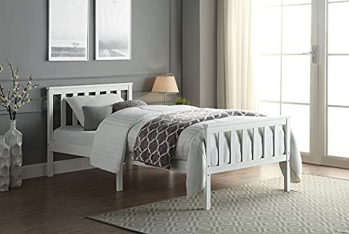 Single Bed With Mattress 3FT. White Wooden Bed Frame Including Quilted Pocket Sprung Mattress. Perfect for Children and Adults