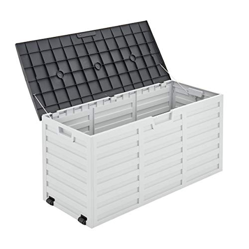 LIVIVO Garden Storage Box Weatherproof Outdoor Plastic Ottoman Furniture Large Storage for Tools Toys Shed Overflow (260L Wheels)