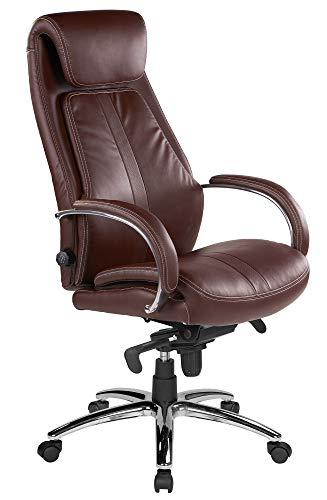 Kijng Chefsessel Throne - Braun Kunstleder - Ergonomischer Bürostuhl Schreibtischstuhl Drehstuhl Sessel Stuhl