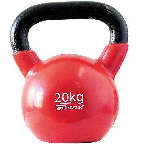 FIELDOOR ケトルベル 20kg PVCコーティング 音軽減 キズ防止 体幹トレーニング
