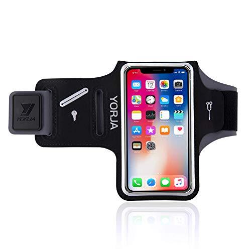 YORJA Schweißfest Sports Armband für iPhone 8/7/6/6s & Galaxy S7/S6/S5(bis 5.1 Zoll) mit Schlüsselhalter, Kabelfach, Kartenhalter kompatibel,für Laufen,Joggen,Workout,Hiking,Gym(Schwarz)