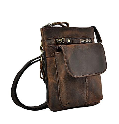 Echtleder Outdoor Gürteltasche Hüfttasche Umhängetasche Handytasche Crossbody Bag für Damen und Herren Unisex - Echtes Rindsleder (Braun)