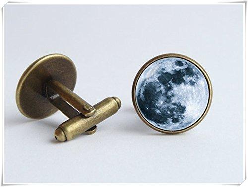 Pleine Lune Boutons de manchette Universe Space Galaxy Boutons de manchette de manquer d'espace