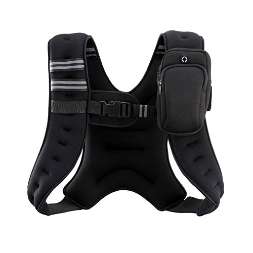 ZELUS Weighted Vest, 4lb/6lb/8lb/12lb/16lb/20lb Weight Vest with Reflective Stripe for Workout, Strength Training, Running, Fitness, Muscle Building, Weight Loss, Weightlifting (12)