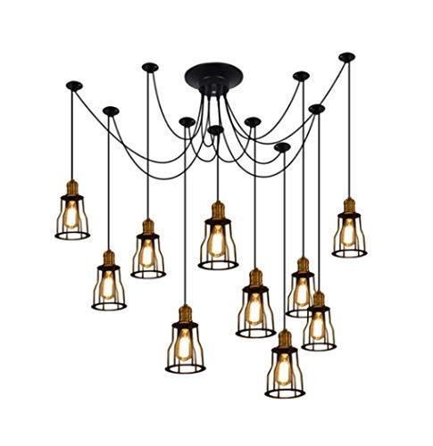 Yjmgrowing Vintage hangende hanglamp 10 armen retro kroonluchter verstelbare industriële kunst plafond spinnenlampverlichting voor restaurant bars cafe, 110-240 V, E27 (150 × 180 cm)