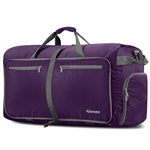 Gonex 100L Travel Duffel Bag Foldable Water Resistant Travel Bag Lightweight Duffel Bag with Big Capacity for Luggage Gym Sports Purple