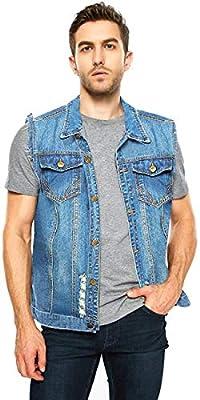 JEKAOYI Men's Casual Ripped Denim Jean Vest Sleeveless Vintage Jacket Vest Outwear Light Blue from JEKAOYI