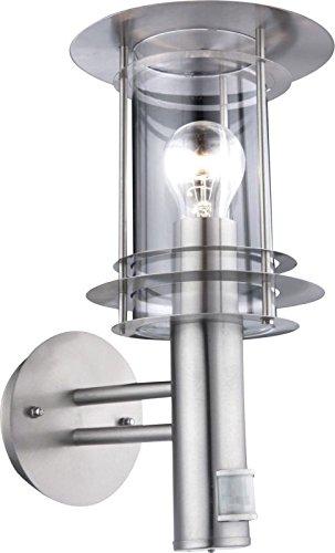 Wandlamp buiten roestvrij staal buitenmuur lamp met bewegingsmelder (buitenverlichting, sensor, bereik 8 meter, fitting E27)