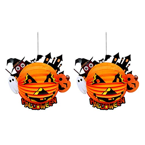 TOYANDONA 2 Stück Halloween 3D Faltpapier Laterne Wabe Jack O Laterne Kürbis Hängen Papierlampe Requisiten für Halloween Party Hausgarten Hof Dekor