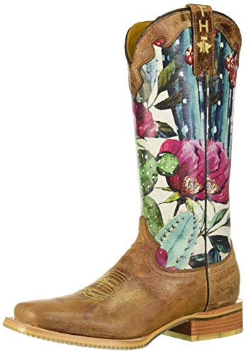 Tin Haul Shoes Women's CACTILICIOUS Western Boot, brown, 11 Medium US