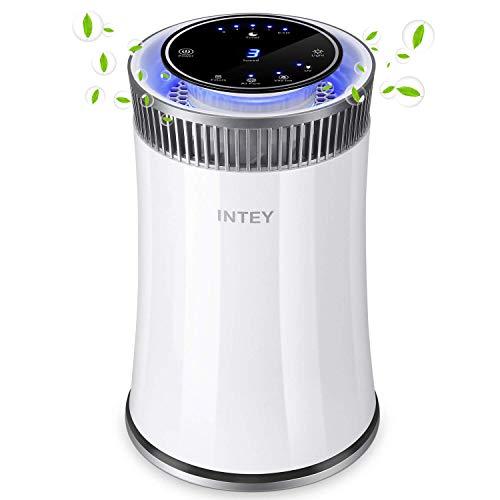 INTEY Luftreiniger - Filter Aktivkohle Doppelfiltration, Negativen Ionisator, Desinfektion UV, 5-Stufen-Filterung für 99,98{ddff3e5b13560d6f2e1eb48850ce99c3e878a52c440430c6a53b48ee75f0d39e} Filterleistung und Nachtlicht, perfekt für Allergiker und Raucher