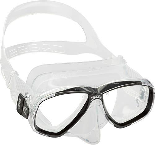 Cressi Perla Mask Máscara Vidrio separada para Pesca, apnea, Snorkel y Buceo, Unisex Adulto, Transparent/Azul, Talla Única
