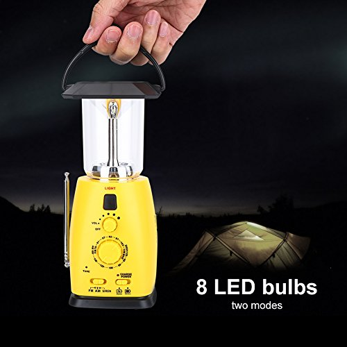 Bnineteenteam LED Camping Lantern,Solar Rechargeable Lantern,Hand Crank Emergency Flashlight with AM/FM Radio for Camping, Storm, Power Outage