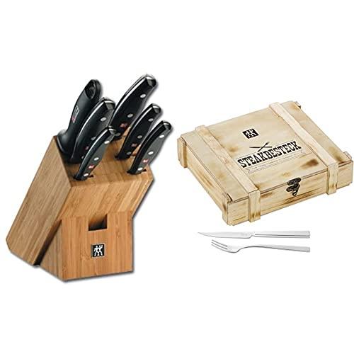 ZWILLING Bloque de cuchillos, 7 piezas, Bloque de bambú + ZWILLING Juego de cubiertos para bistec para 6 personas, 12 piezas, 6 cuchillos para bistec y 6 tenedores para bistec