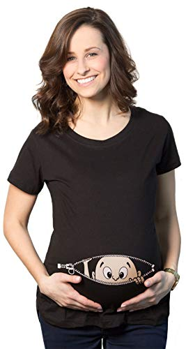 Crazy Dog Tshirts - Maternity Baby Peeking T Shirt Funny Pregnancy tee For Expecting Mothers (Black) - S - Camiseta De Maternidad