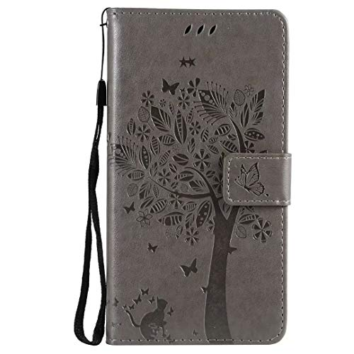 Galaxy A20e Hülle Case für Samsung Galaxy A20e HandyHülle Lotus Baum Muster Leder Flipcase Schutzhülle Brieftasche Flipcover Tasche Ständer Magnetverschluss Kartenfach Handytasche Grau