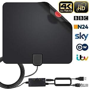 Antena Interior TV, Antena de TV Digital HD para Interiores, Antena de TV de Alcance de 240KM con Amplificador de Señal,Gratuita con Cable Coaxial de 5M, 4K 1080P, Antena de TV más Potente (Estilo-1)