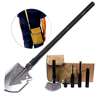Utility Folding Shovel, MythGeek Survival Compact Folding Shovel Kit with Multi Tools, Hoe, Knife, Saw, Rope Cutter, Harpoon, Fire Stick, Compass, Cone Hammer, use for Camping Hiking Garden, Black by MythGeek