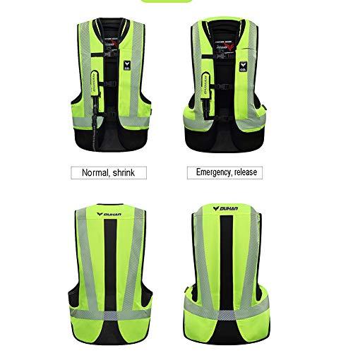 LSSLA Moto Airbag Chaleco Protector del Moto de la Motocicleta Reflectante Airbag Airbag Gilet Adecuado para Motocicletas y vehículos Todo Terreno,Verde,M