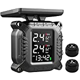 Bariicare Tire Pressure Monitoring System for Motorcycles, 7 Alarm Modes Solar Wireless Charging Waterproof with 2 External Sensors TPMS Real-time Displays 2 Tires' Pressure and Temperature