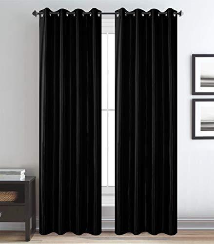 Shine Glans Satijn Ringgordijn - kant-en-klaar gordijn met ringen voor Gordijnroede - Zwart Maat: 270 x 260 cm