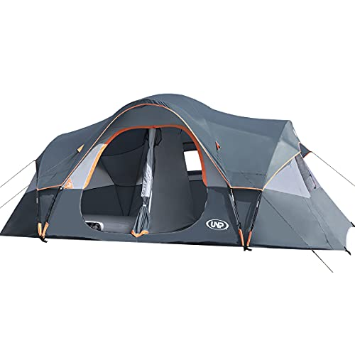 UNP Camping Tent 10-Person-Family Tents, Parties, Music Festival Tent, Big, Easy Up, 5 Large Mesh Windows, Double Layer, 2 Room, Waterproof, Weather Resistant, 18ft x 9ft x78in (Gray)