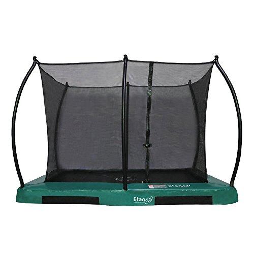 Etan Hi–Flyer Outdoor Boden Trampolin mit Sicherheitsnetz – Inground Gartentrampolin mit UV-beständiges Randabdeckung – eingegraben Trampolin Kinder mit Netz – Rechteckig – Grün – 310 x 232 cm