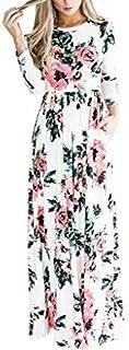 Flower Print Maxi High Quality Long Dress