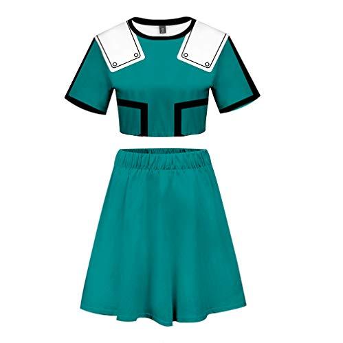 Ailancos Asui Tsuyu Uraraka Bakugou Todoroki Cosplay Costume My Hero Academia Cheerleader Uniform Crop Top Dress Set