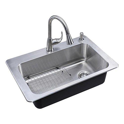 Glacier Bay All-in-One Drop-in Stainless Steel 33 in. 2-Hole Single Basin Kitchen Sink