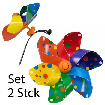 CIM Fahrrad-Windmühle - Moulin VELO 12cm [ 2er Set ] Windrad Ø12cm - Windspiel für alle Fahrräder, Roller, Dreiräder, Laufräder, Kinderwagen und Buggys
