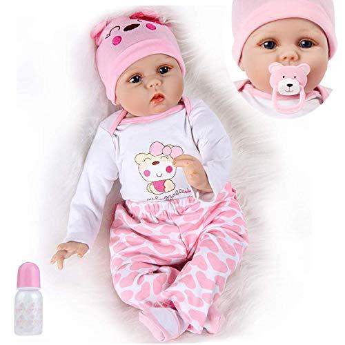Lebensecht Reborn Babys Doll Puppen Silikon Mädchen WiederGeboren Reborn Babypuppen Rosa Bär Outfit Realistische 55 cm Puppe Kinder Spielzeug 22 Zoll