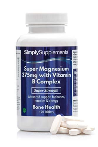 Super Magnesio 375 mg con Complejo de Vitamina B ¡Bote para 4 meses! Apto para Veganos - 120 Comprimidos - SimplySupplements