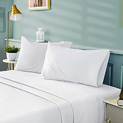 BYSURE 4 Pieces Full Bed Sheet Set - 1800 Soft Durable Brushed Microfiber, 15 Inch Deep Pockets, Wrinkle & Fade Resistant (Full, White)