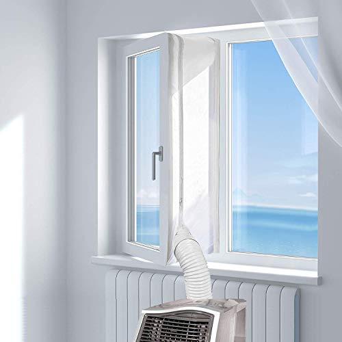 About1988 Fensterabdichtung für mobile Klimageräte, Tragbare Klimaanlage Schlauch,Ablufttrockner | Air Stop zum Anbringen (Fensterabdichtung Klimaanlage 400cm) (400cm(Silber)+30ml)