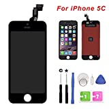 Screen Replacement for iPhone 5C Black Touch Screen Digitizer LCD Display Replacement Full Assembly with Repair Tools(iPhone 5c, Black)