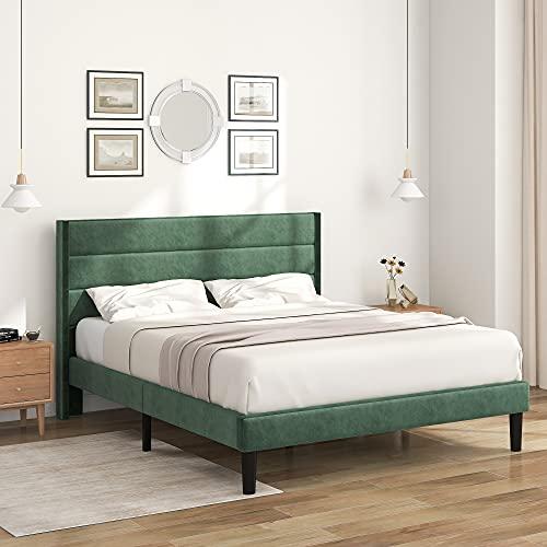 Cama tapizada con cabecero de cama de matrimonio de terciopelo con somier, color verde, 140 x 200 cm