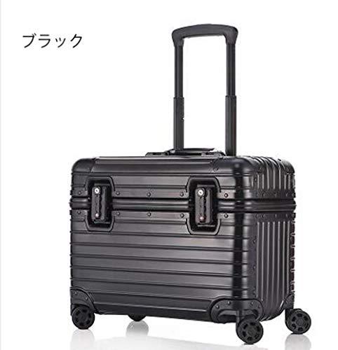 高級感があふれる4色 全金属トランク スーツケース キャリーケース キャリーバッグ 旅行、お出かけに便利な小型 (ブラック, 17インチ 持ち込み可能)