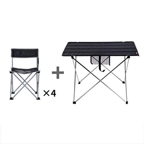 Klaptafel, vouwtafel voor buiten, klapstoel, aluminiumlegering, voor binnen, computerbureau, draagbaar voor picknick, strand, camping, vissen, koken Black-4 Stool