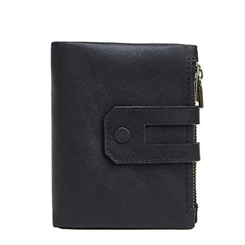 Cartera de Hombre Billetera de Cuero RFID Casual Moda Doble Cremallera Multi-Tarjeta Retro Bolso de Embrague Monedero
