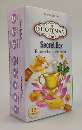 Shoti Maa Secret Box | 6 Packungen | eine Packung enthält 12 Teebeutel feinsten Bio-Tee | 8 Sorten Kräuter- und Gewürztees | 72 Teebeutel