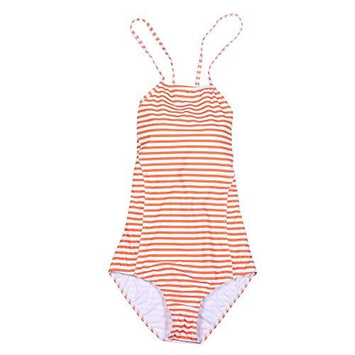 ESAILQ Damen Einteiliger Badeanzug Push-Up Gepolsterter BH Gedruckter Badeanzug Jumpsuit(Large,Orange)